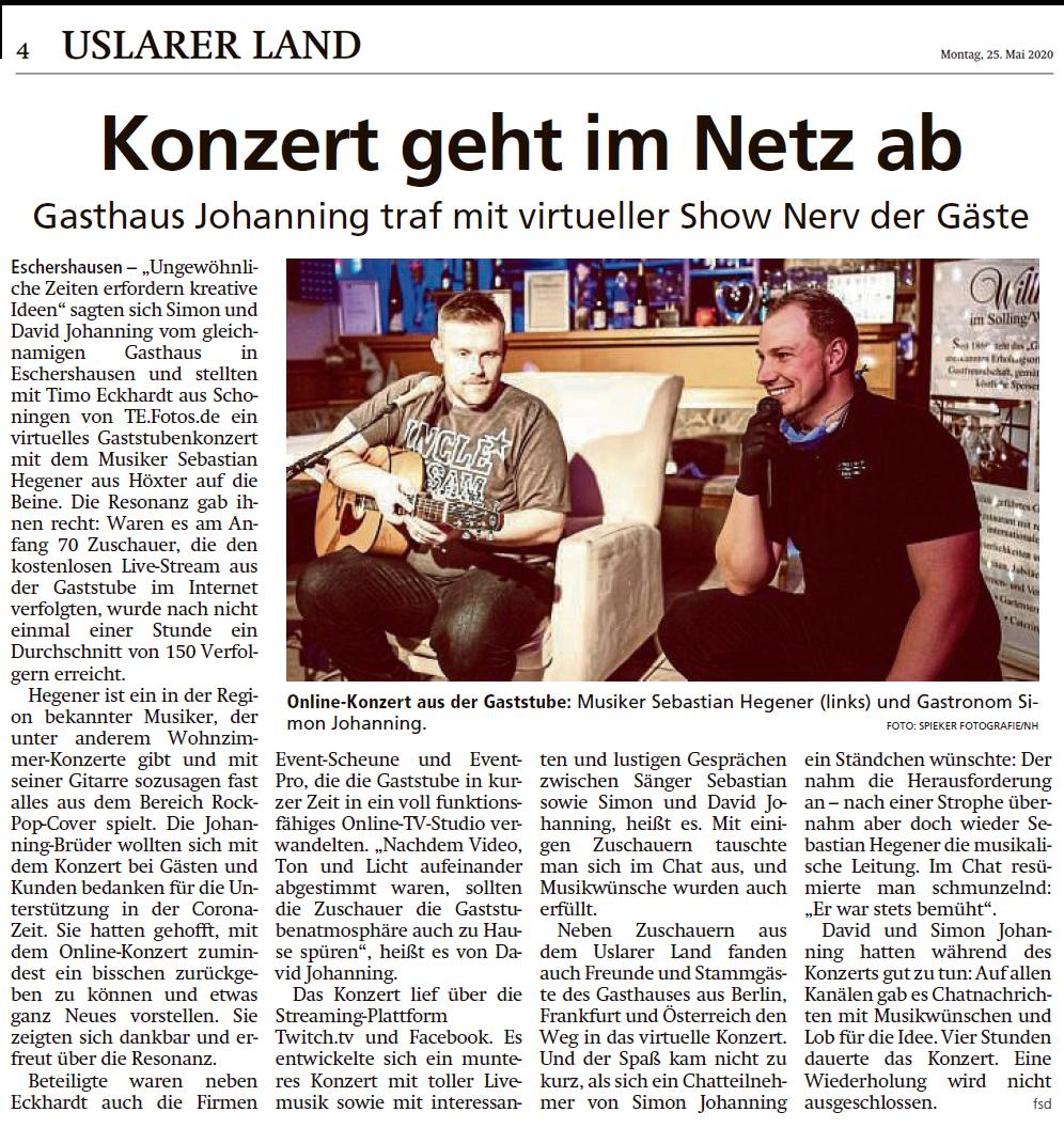 Zeitungsartikel der HNA zum Gasstubekonzert im Gasthaus Johanning